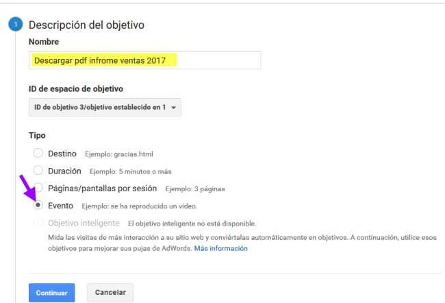 Objetivo Evento Google Analytics Paso 1